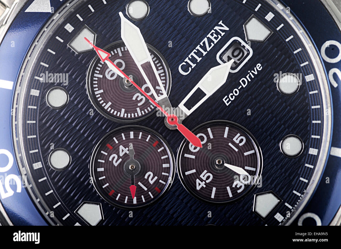Macro Shot Of Face Of New Citizen Eco-Drive Man's Watch - Stock Image