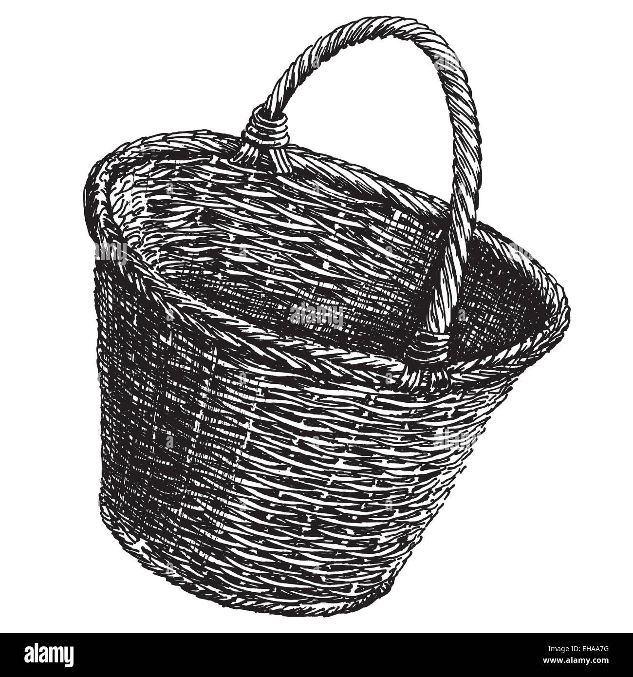 wicker basket vector logo design template handicraft or traditional