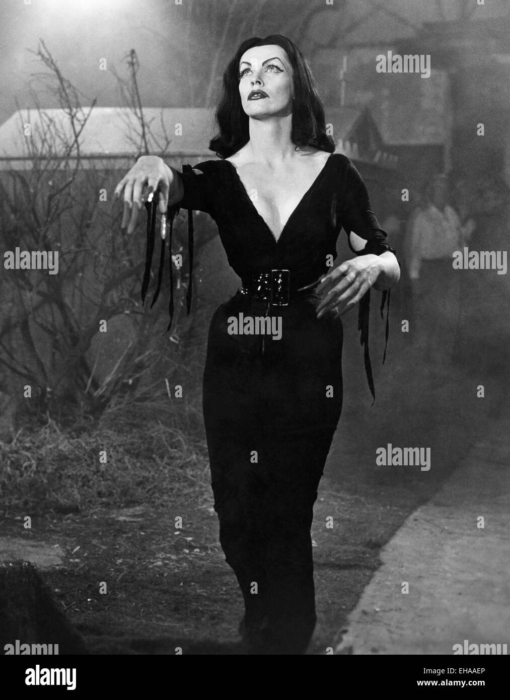 Vampira, on-set of the Film 'Plan 9 From Outer Space', 1959 - Stock Image