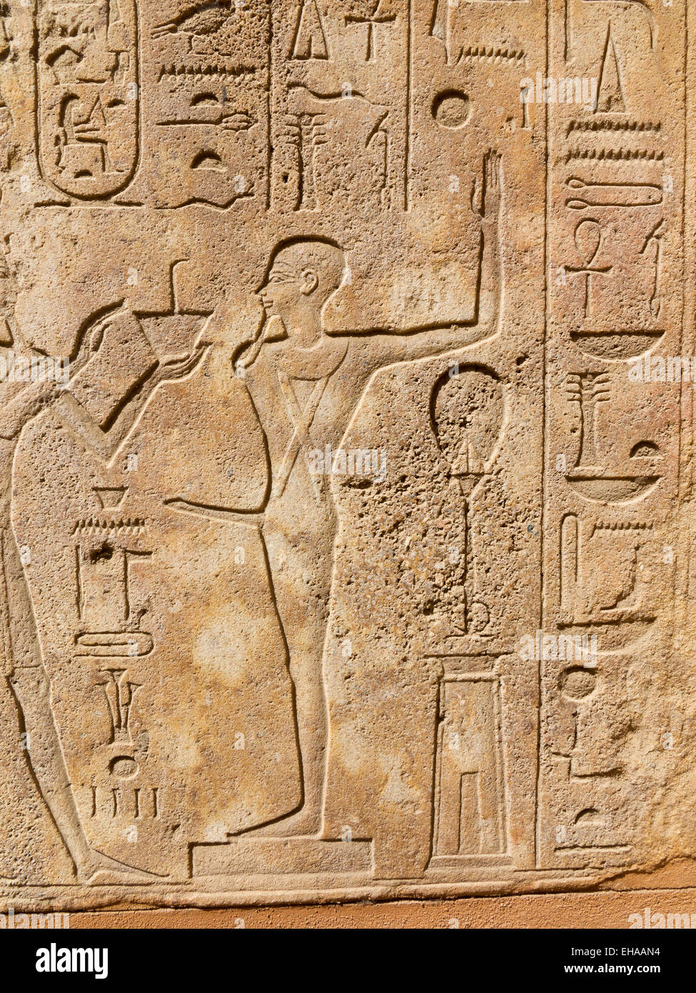Reliefs within The Red Chapel of Queen Hatshepsut in the open-air museum at Karnak Luxor Egypt - Stock Image