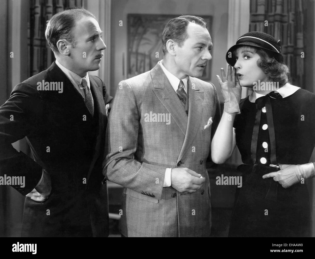 Roland Young, Charles Ruggles, Lili Damita, on-set of the Film 'This is the Night', 1932 - Stock Image
