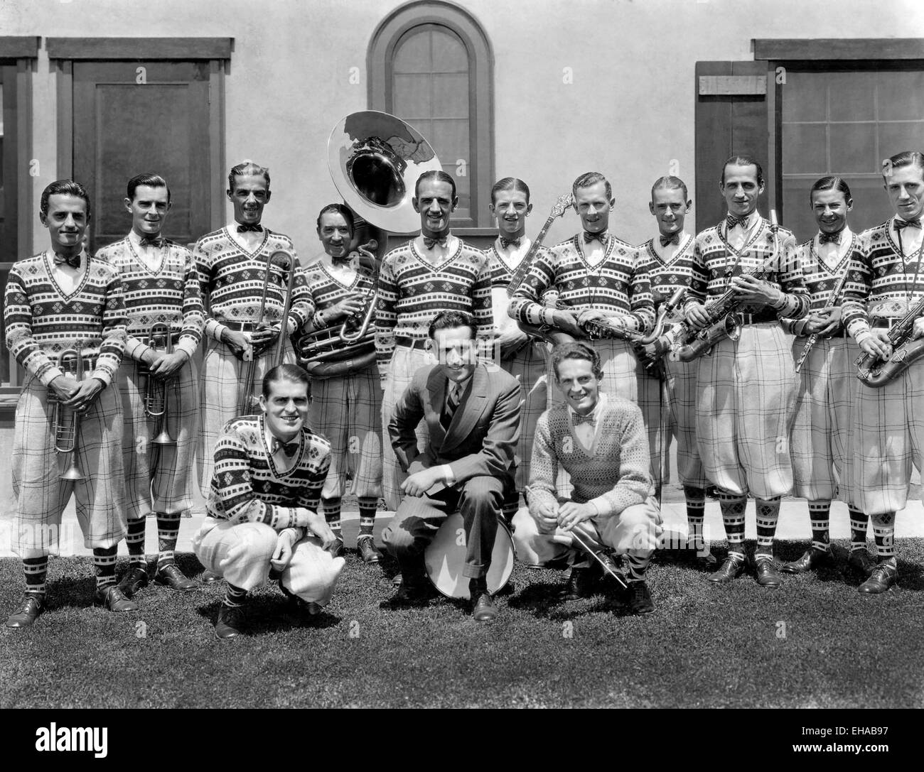 Harold Lloyd, (center), with Fred Waring's Pennsylvanians, Portrait, circa 1920's - Stock Image