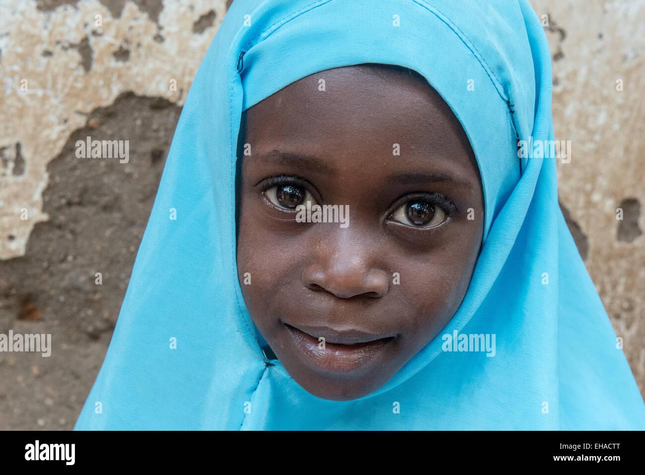 Lake Tanganyika, Girl At Fishermen's Village - Stock Image