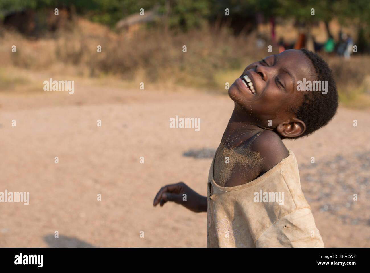 Lake Tanganyika, Boy At Fishermen's Village - Stock Image