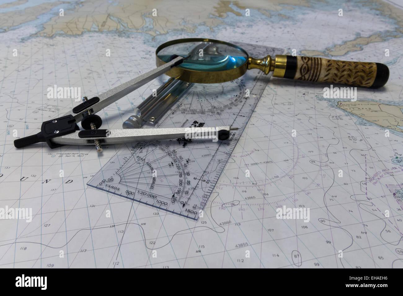 navigation tools and map - Stock Image