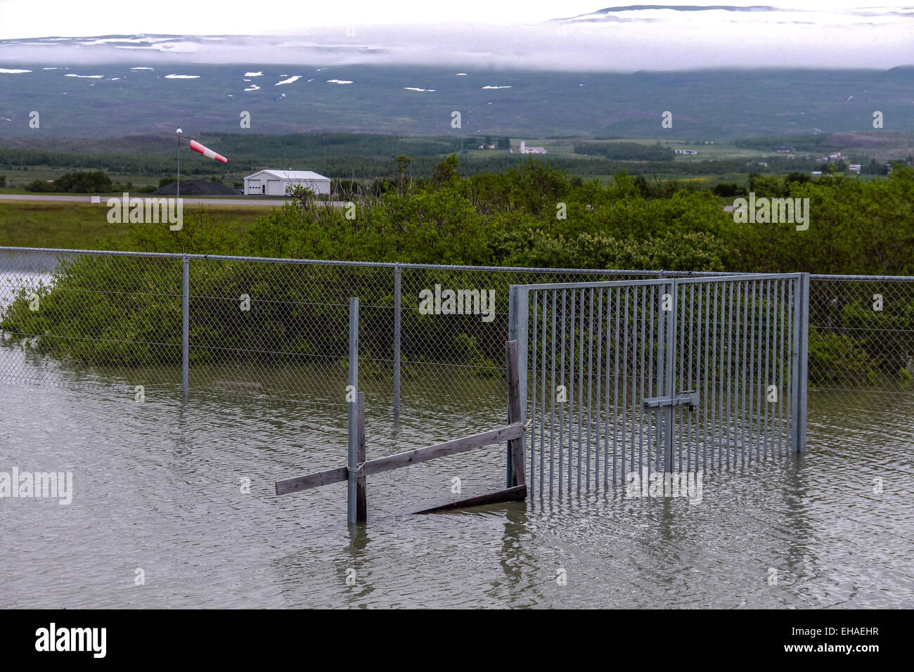 flooded gate at airport in east Iceland Stock Photo