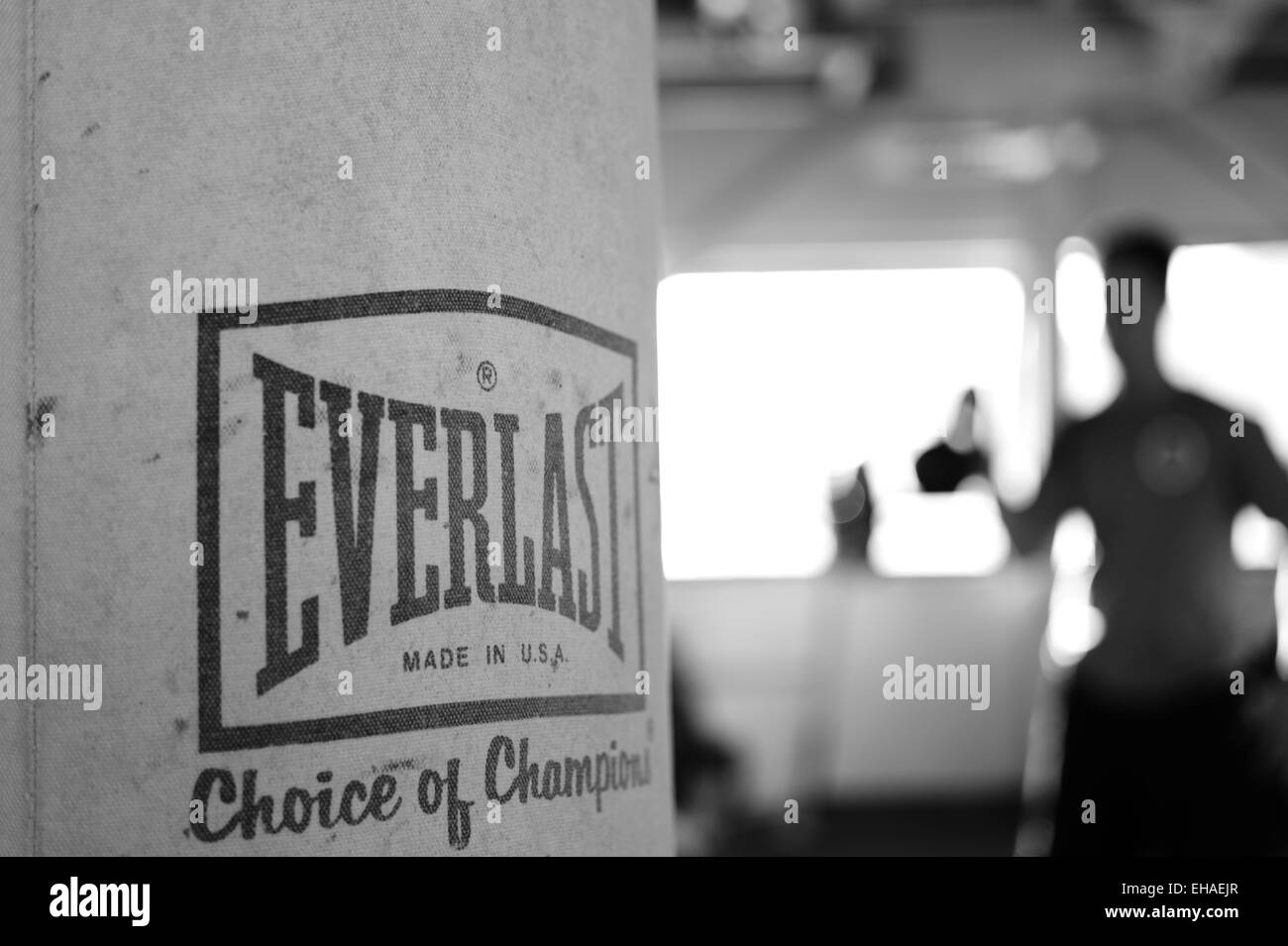 Everlast punching bag at the gym - Stock Image