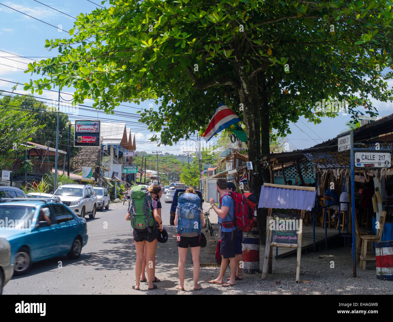Canadian backpackers in puerto viejo limon costa rica stock photo 79523399 alamy - Puerto limon costa rica ...