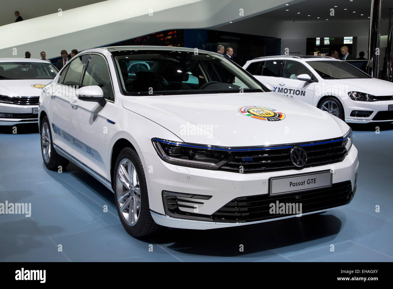 Volkswagen VW Passat, Car of the Year at the Geneva motor show 2015 - Stock Image