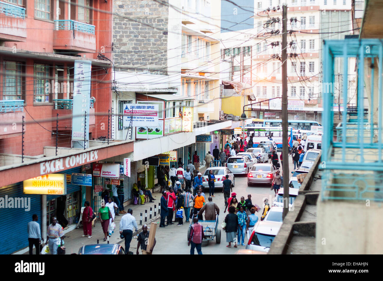 Elevated view of Dubois Street, Downtown Nairobi, Kenya - Stock Image