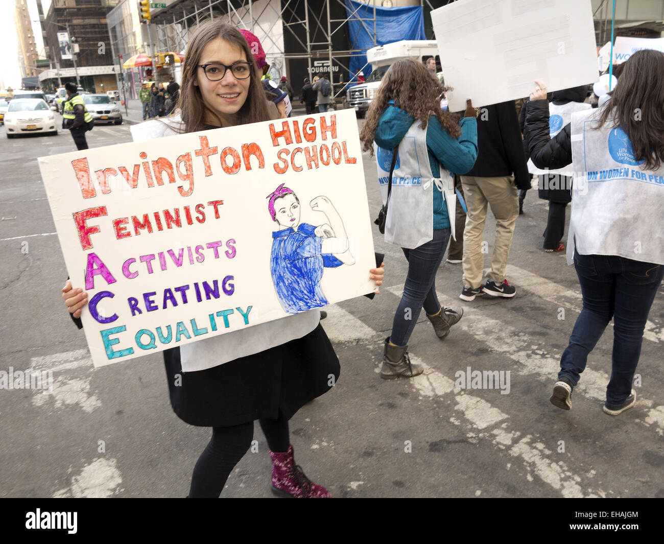 NYC High School girls march in International Women's Day March for Gender Equality  and Women's Rights, - Stock Image