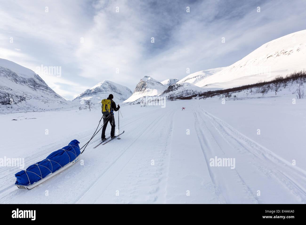 Skiing at Kebnekaise mountain area, Kiruna, Sweden, Europe, EU - Stock Image