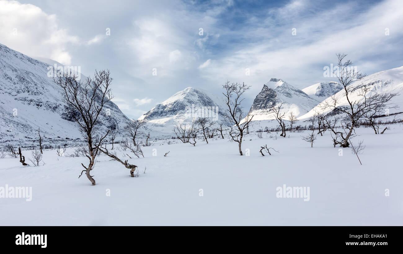 Mountain views of Kebnekaise mountain area, Kiruna, Sweden, Europe, EU - Stock Image