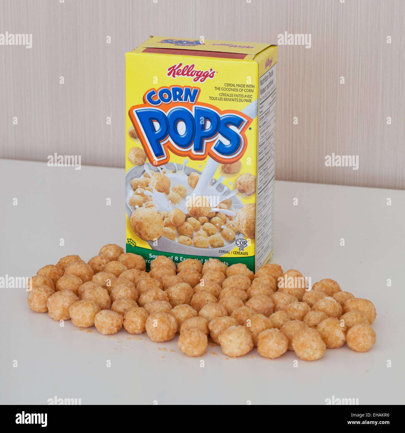 A Fun-sized Box Of Kellogg's Corn Pops Cereal. Canadian