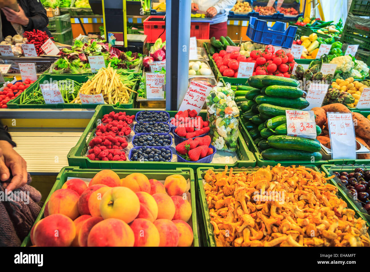 Fruits and Vegetables in the market of Salzburg - Stock Image