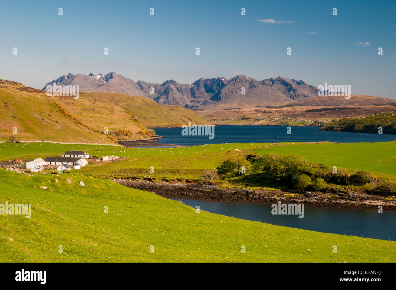 A view of Gesto Bay and Loch Harport  on the Minginish Peninsula, Isle of Skye, Inverness-shire. May. Stock Photo