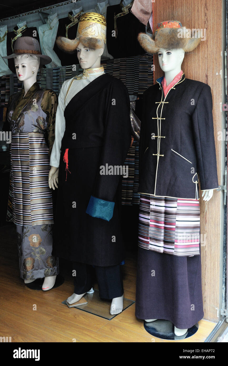 Lhasa, Traditional Tibetan Ceremonial Clothes, Old Town Market - Stock Image