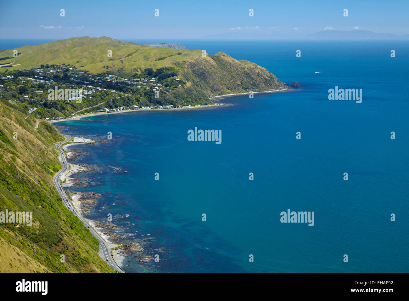 State Highway One, Pukerua Bay, Wellington region, North Island, New Zealand - aerial - Stock Image