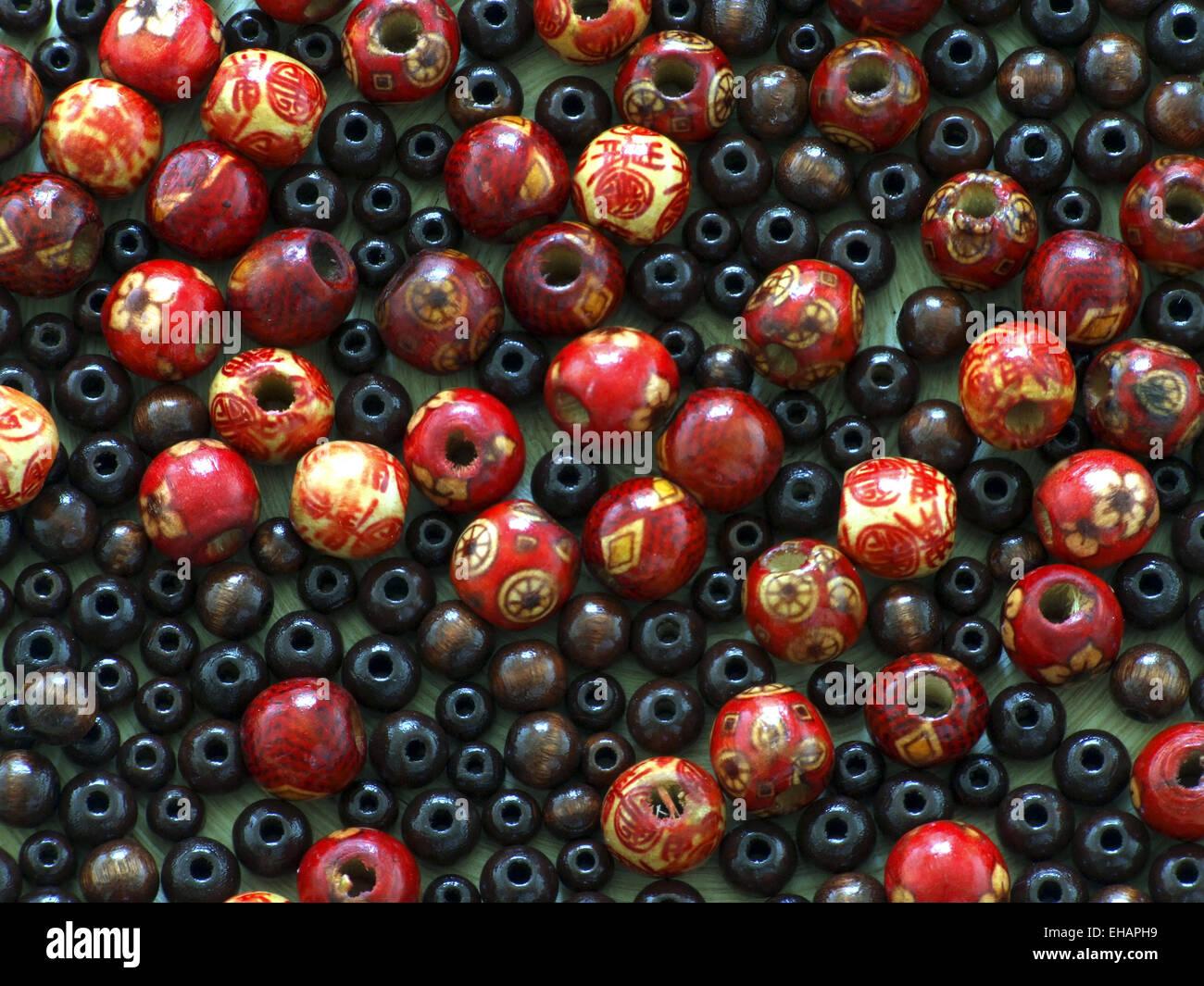 Asiatische Holzperlen / wooden beads - Stock Image