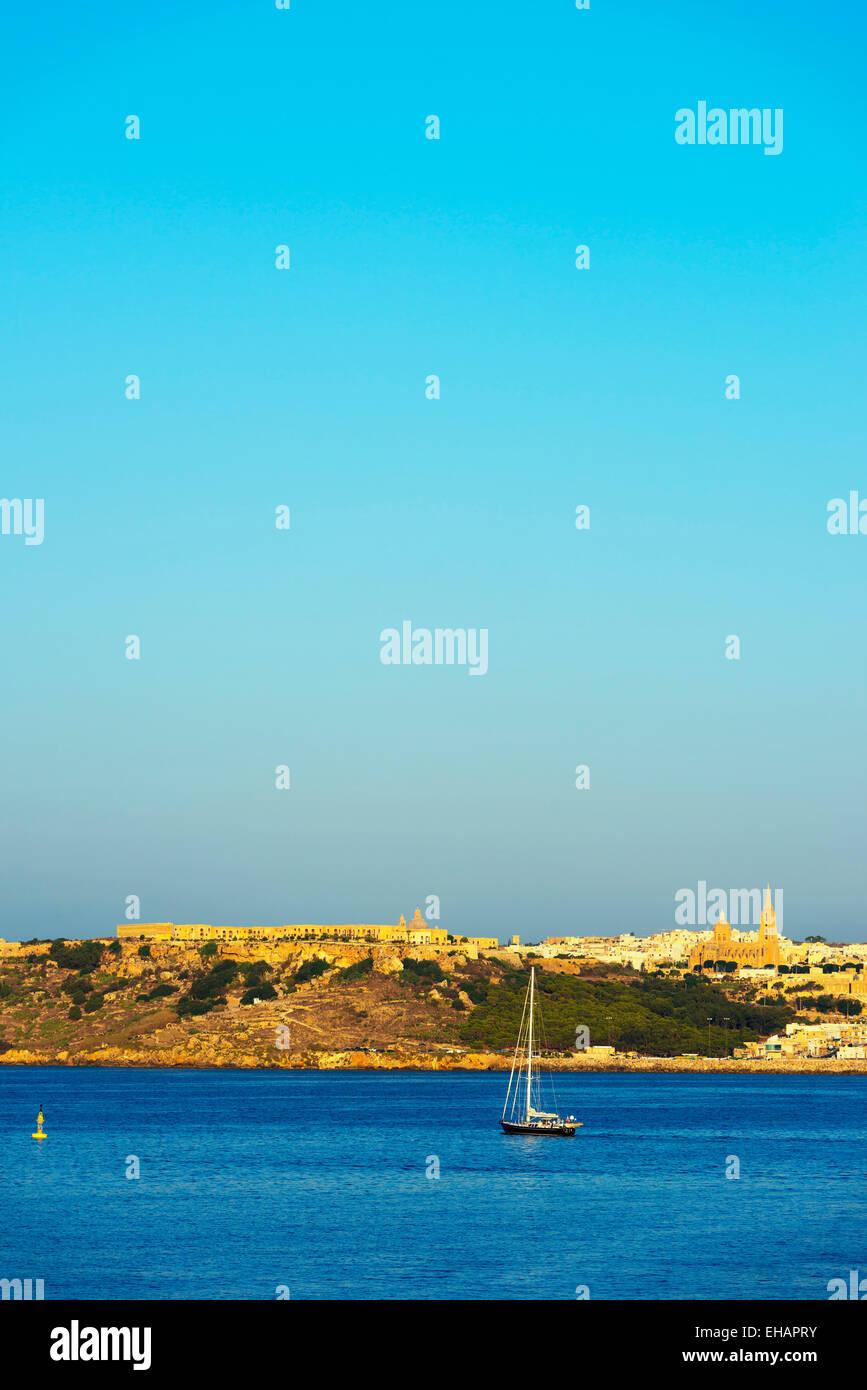 Mediterranean Europe, Malta, Gozo Island, Mgarr, Fort Chambray - Stock Image