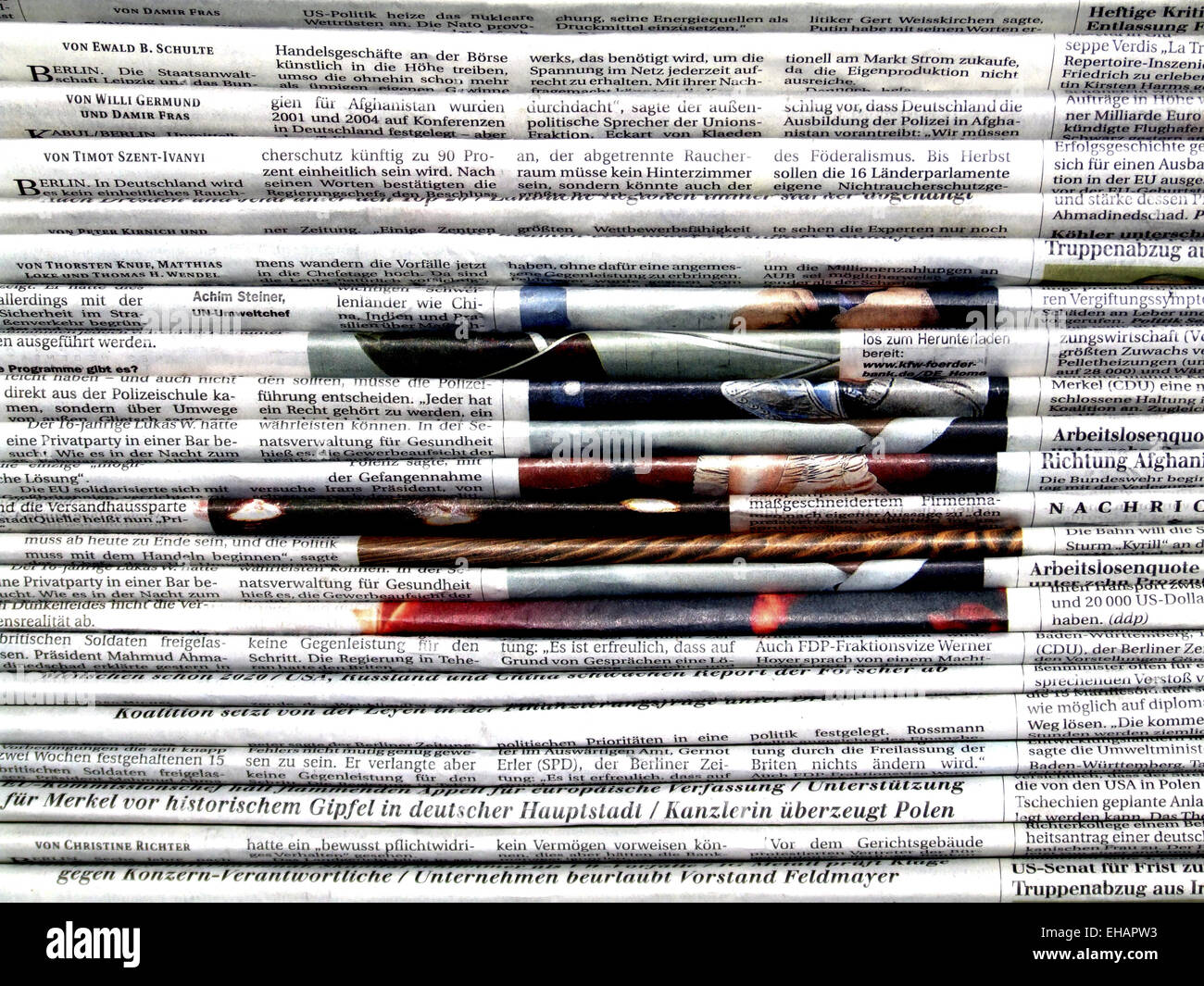 Stapel Zeitungen / newspaper Stock Photo