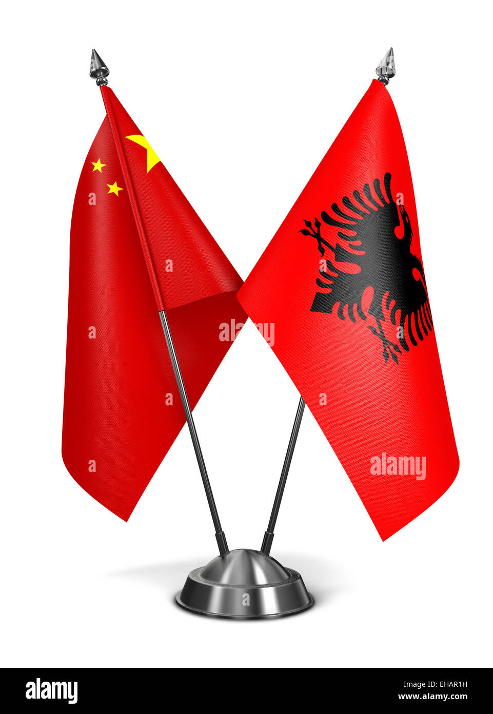 China and Albania - Miniature Flags Isolated on White Background. - Stock Image