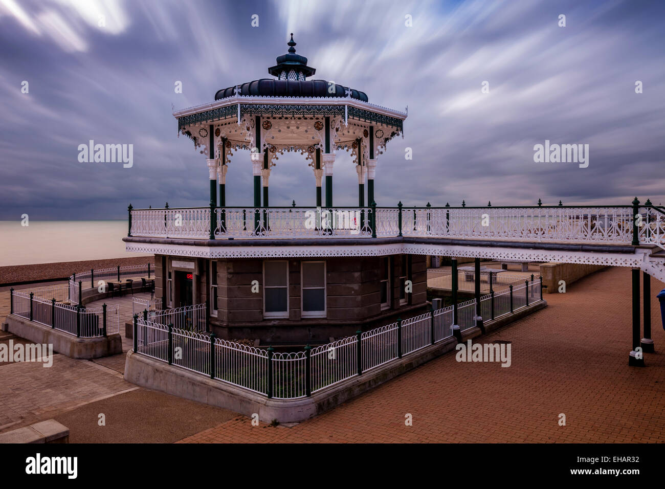 The Victorian Bandstand (Recently Restored) On Brighton Seafront, Brighton, England - Stock Image