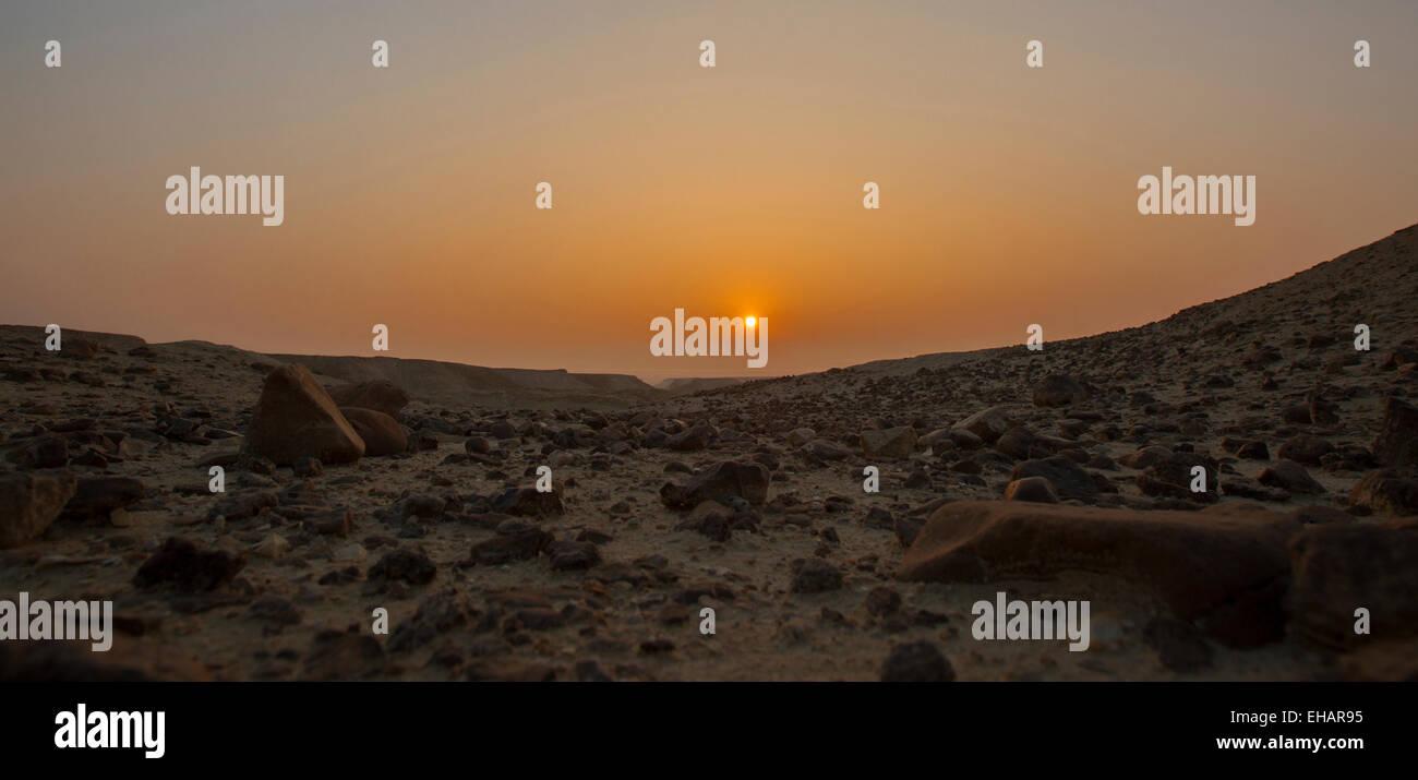 Desert sunrise. Photographed in the Judaean Desert, Israel - Stock Image