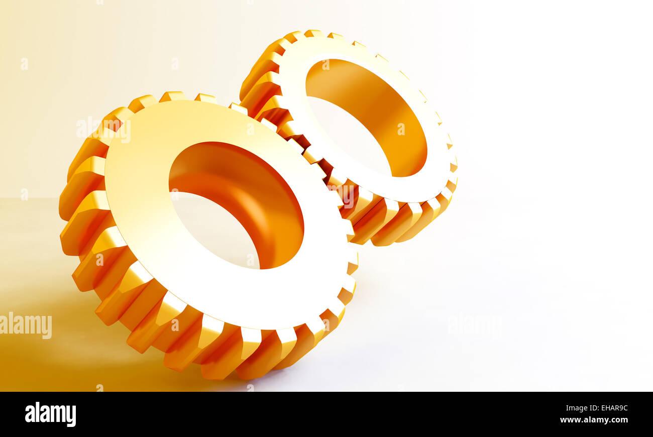 golden linked metal gears - Stock Image