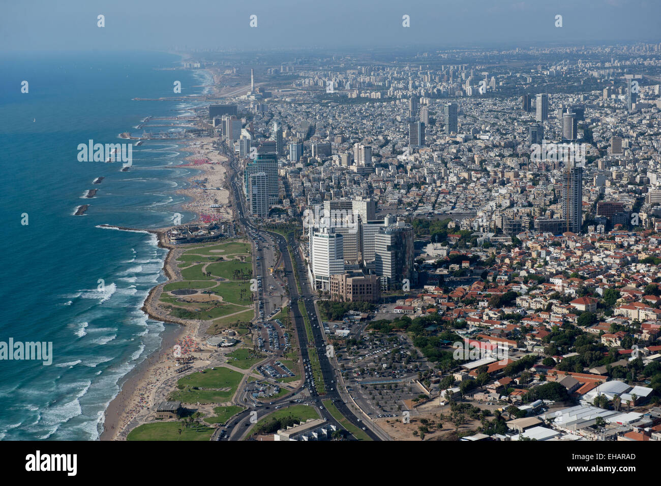 Aerial Photography of Tel Aviv, Israel view of the coast line as seen from south - Stock Image