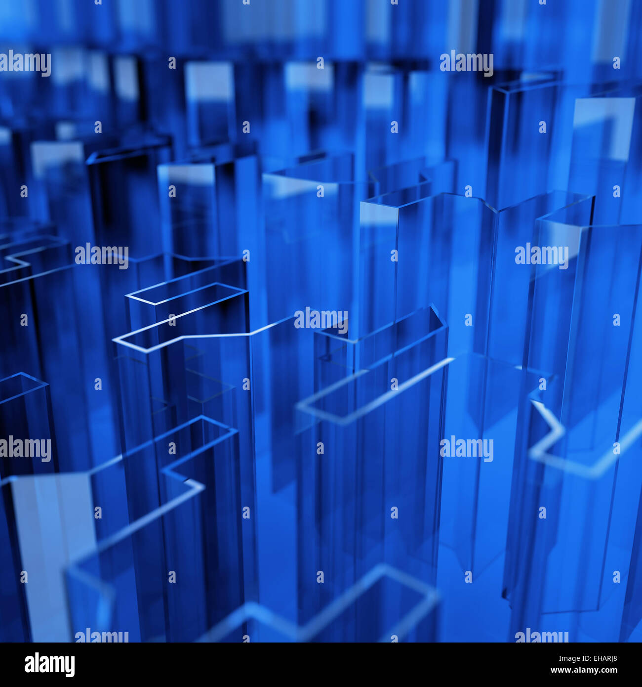 blue glass acute angled abstraction - Stock Image