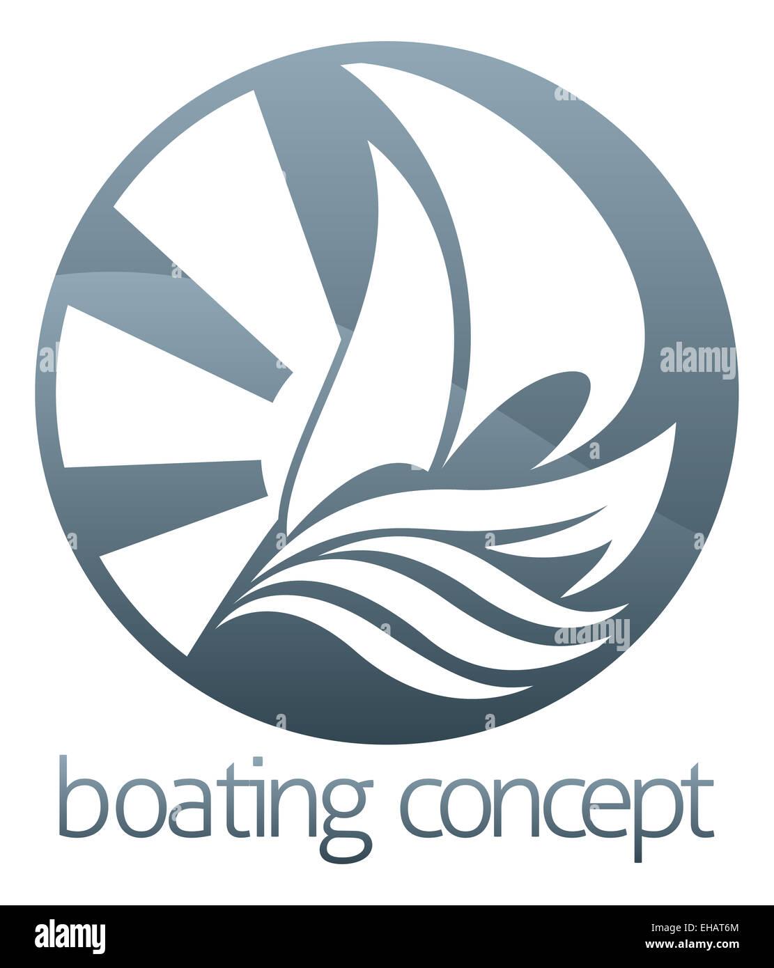 An abstract illustration of a sail boat ship circle concept design - Stock Image