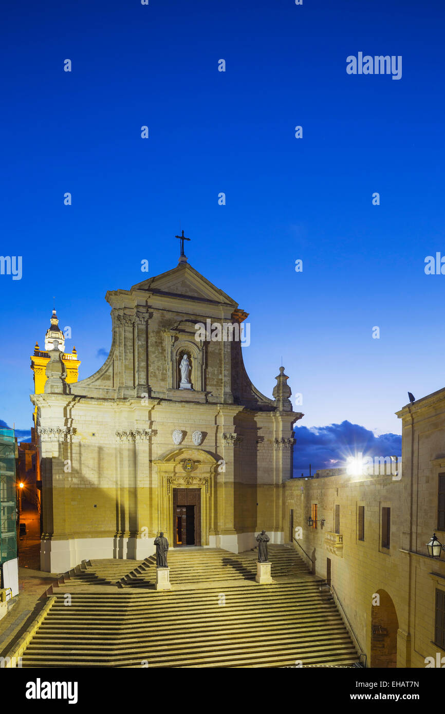 Mediterranean Europe, Malta, Gozo Island, Victoria (Rabat), Il-Kastell citadel fortress, Cathedral of the Assumption - Stock Image