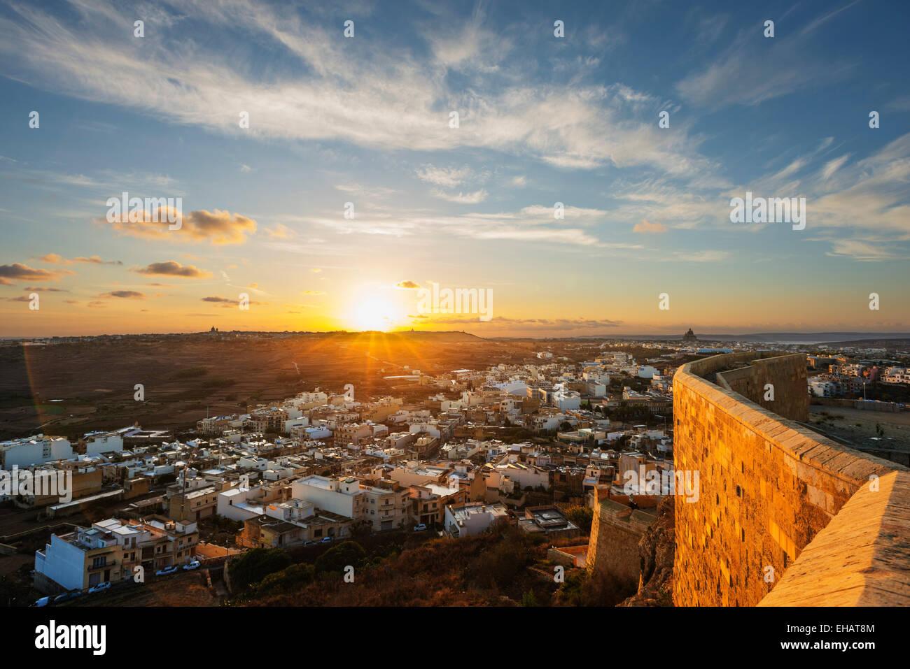 Mediterranean Europe, Malta, Gozo Island, Victoria (Rabat), sunrise from Il-Kastell citadel fortress - Stock Image
