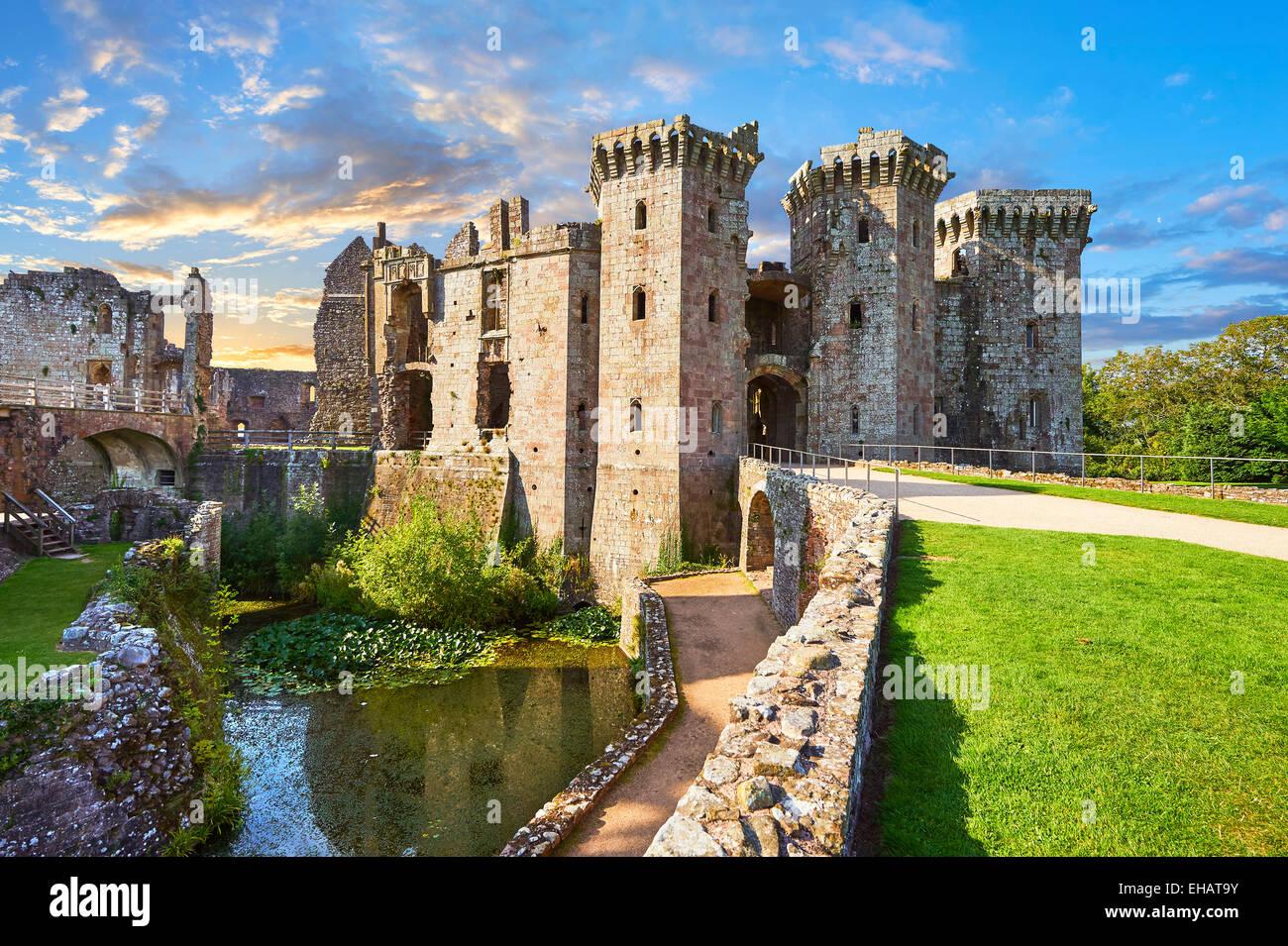 Ruins of the medieval Raglan Castle (Welsh: Castell Rhaglan) Monmothshire, Wales. - Stock Image