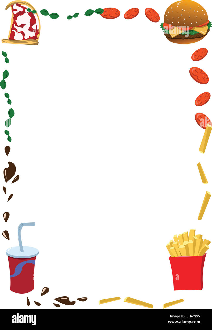 a vector cartoon representing a fast food frame, useful for menus ...