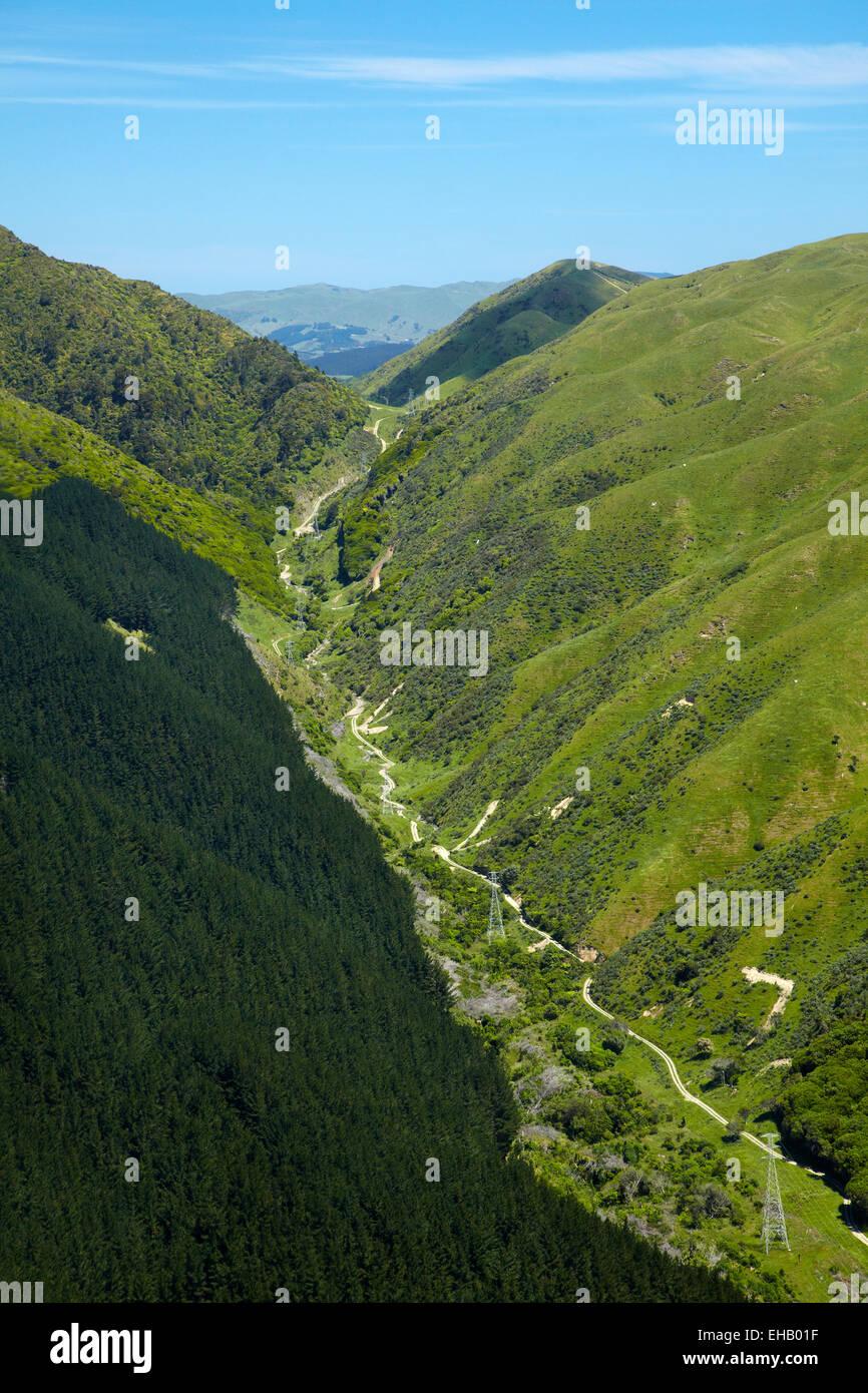 Transmission Gully, proposed motorway route, Paekakariki, Kapiti Coast, north of Wellington, North Island, New Zealand; Stock Photo