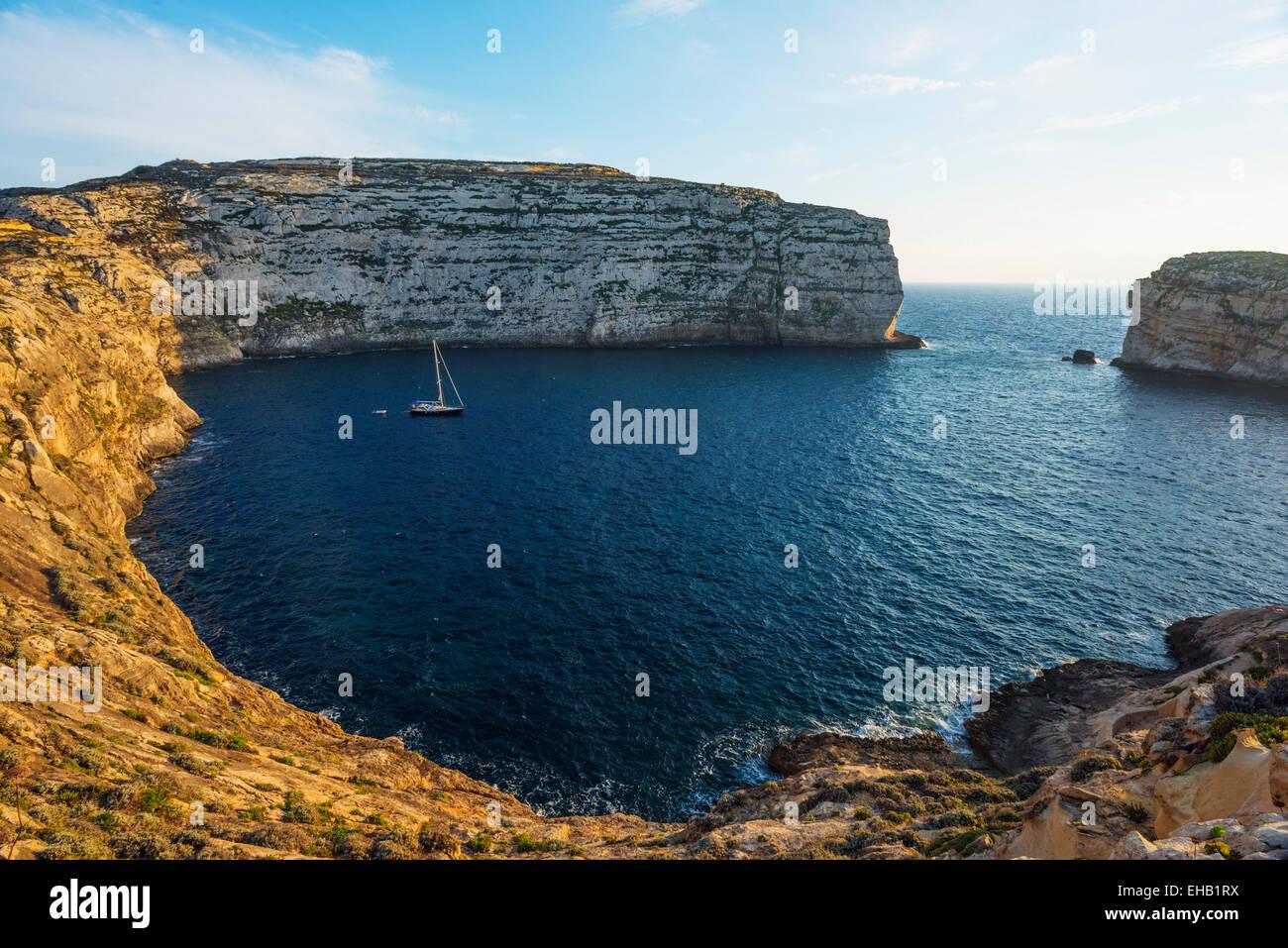 Mediterranean Europe, Malta, Gozo Island, Dwerja Bay - Stock Image