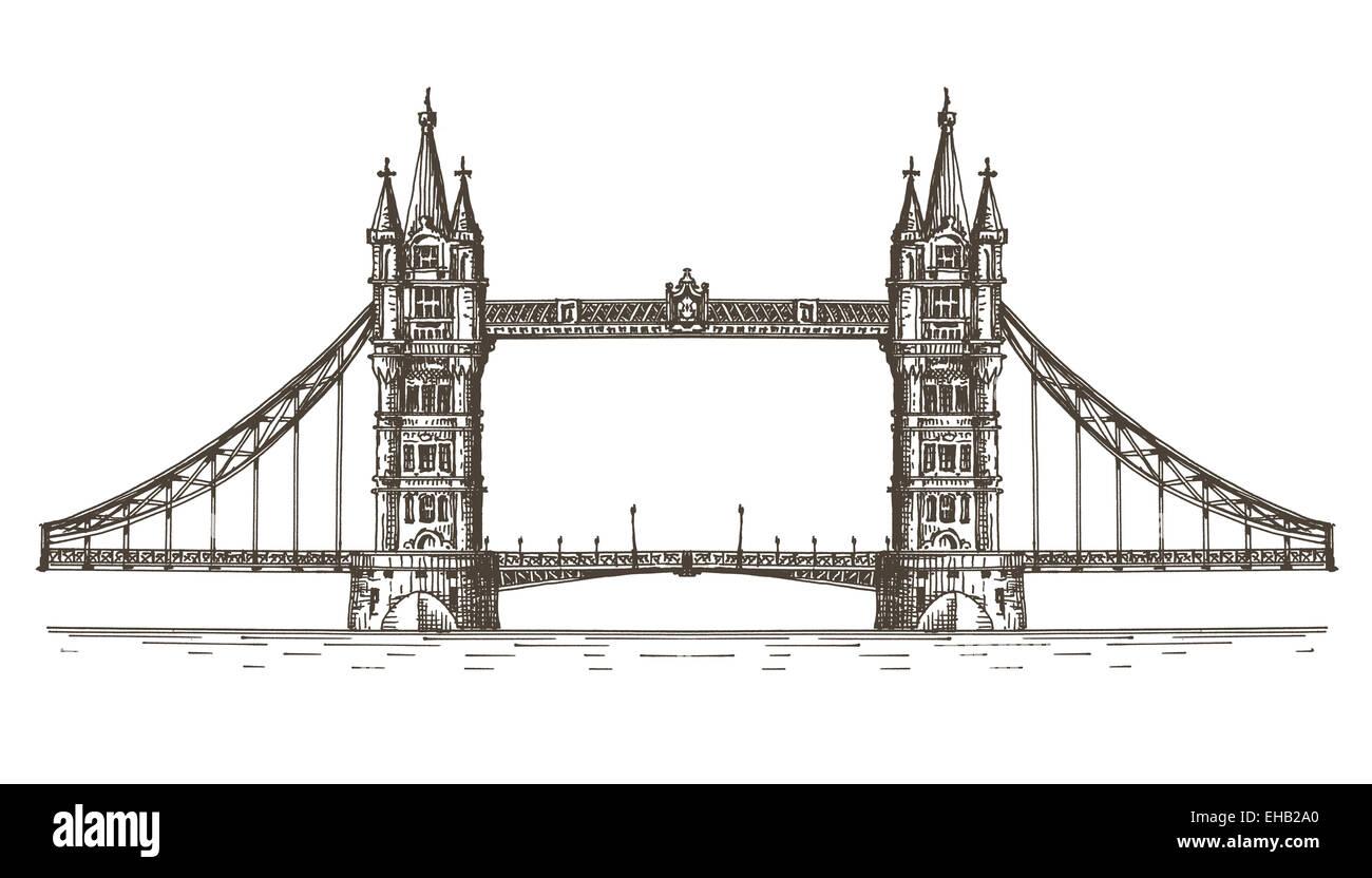 England vector logo design template. London or bridge icon. - Stock Image