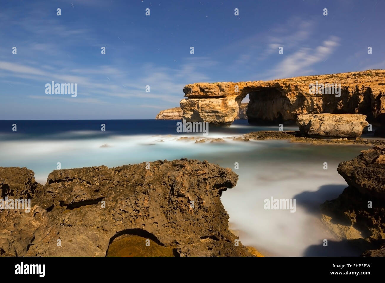 Mediterranean Europe, Malta, Gozo Island, Dwerja Bay, The Azure Window natural arch - Stock Image