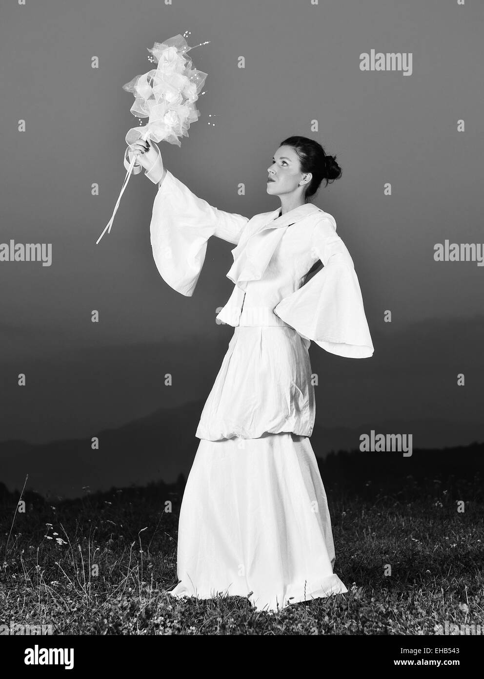 beautiful bride outdoor after wedding ceremny - Stock Image