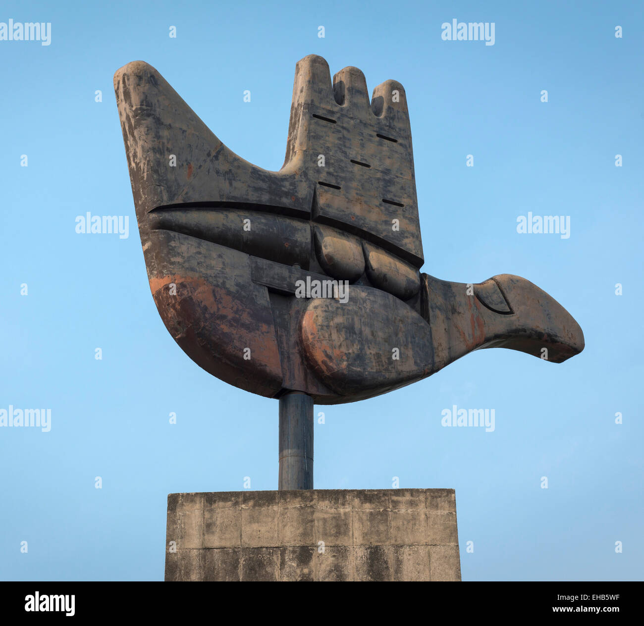 Le Corbusiers Open Hand Symbol Near To The Law Courts For The City