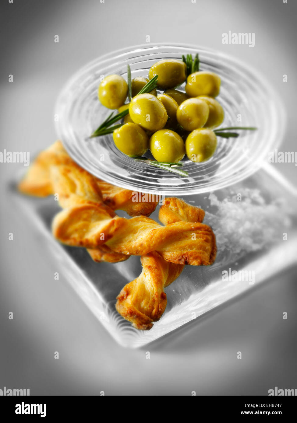 Olives an bread sticks snack Stock Photo