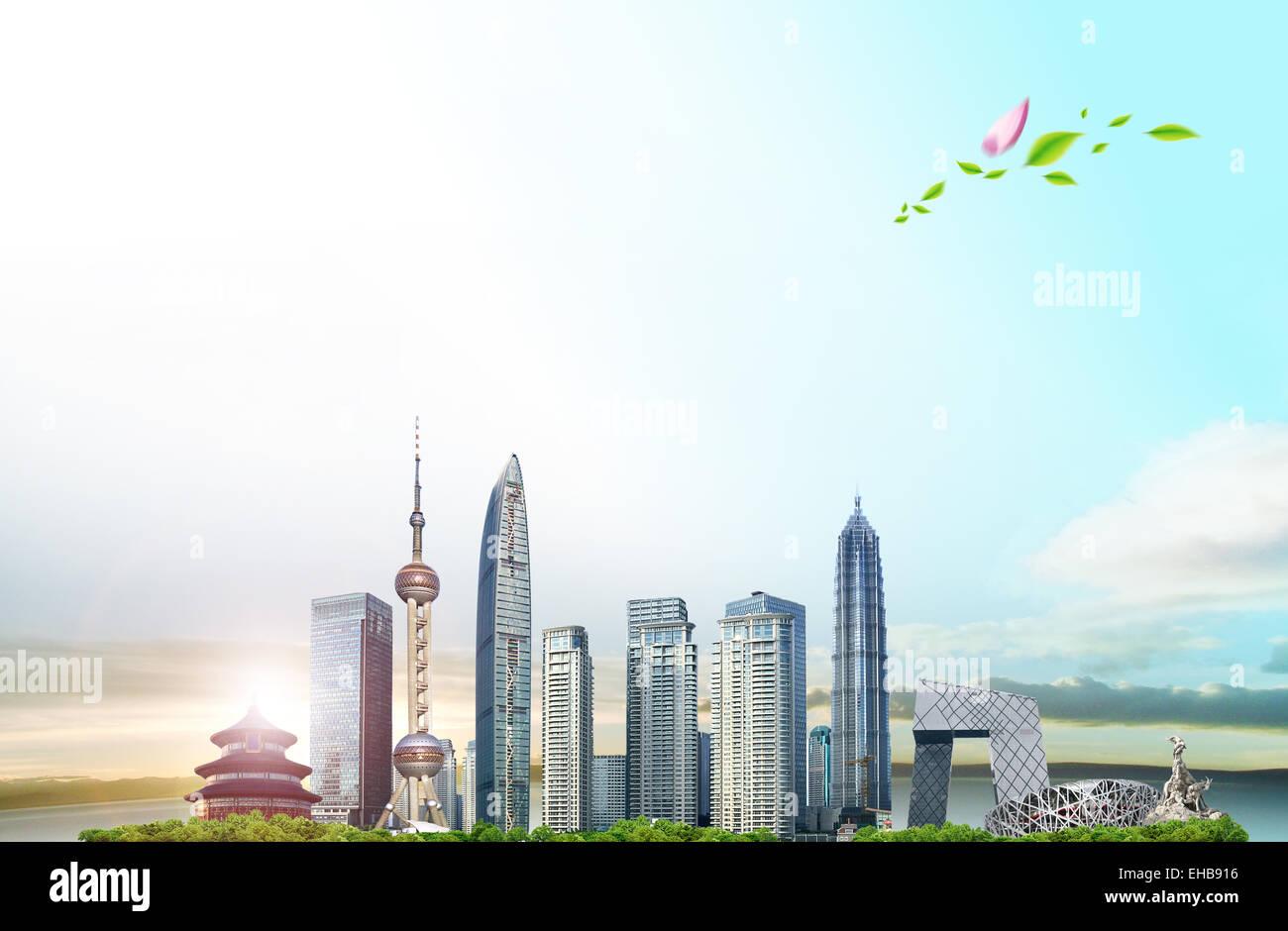 China city landmarks - Stock Image