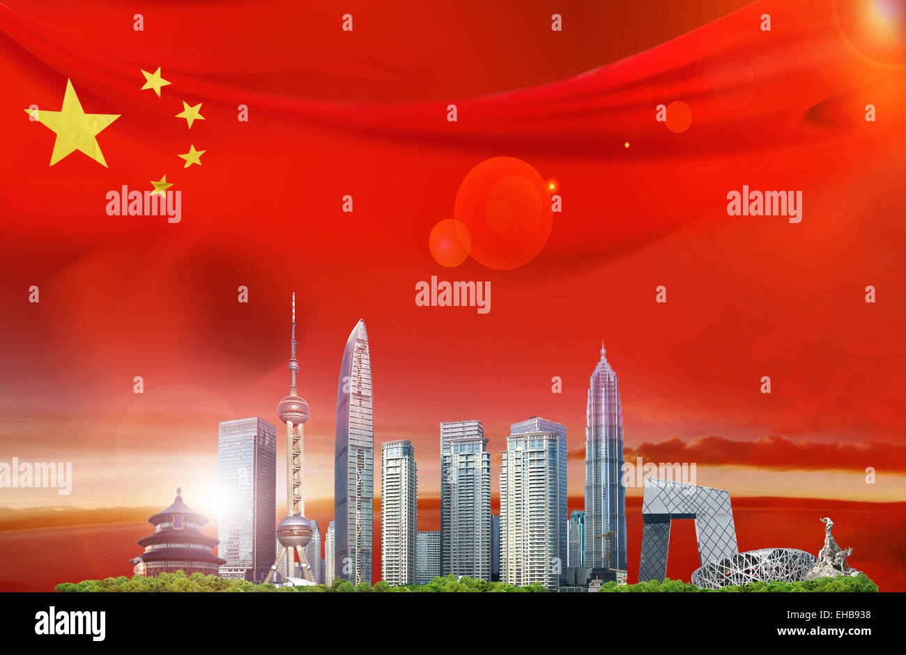 Under the red flag of China city landmarks - Stock Image