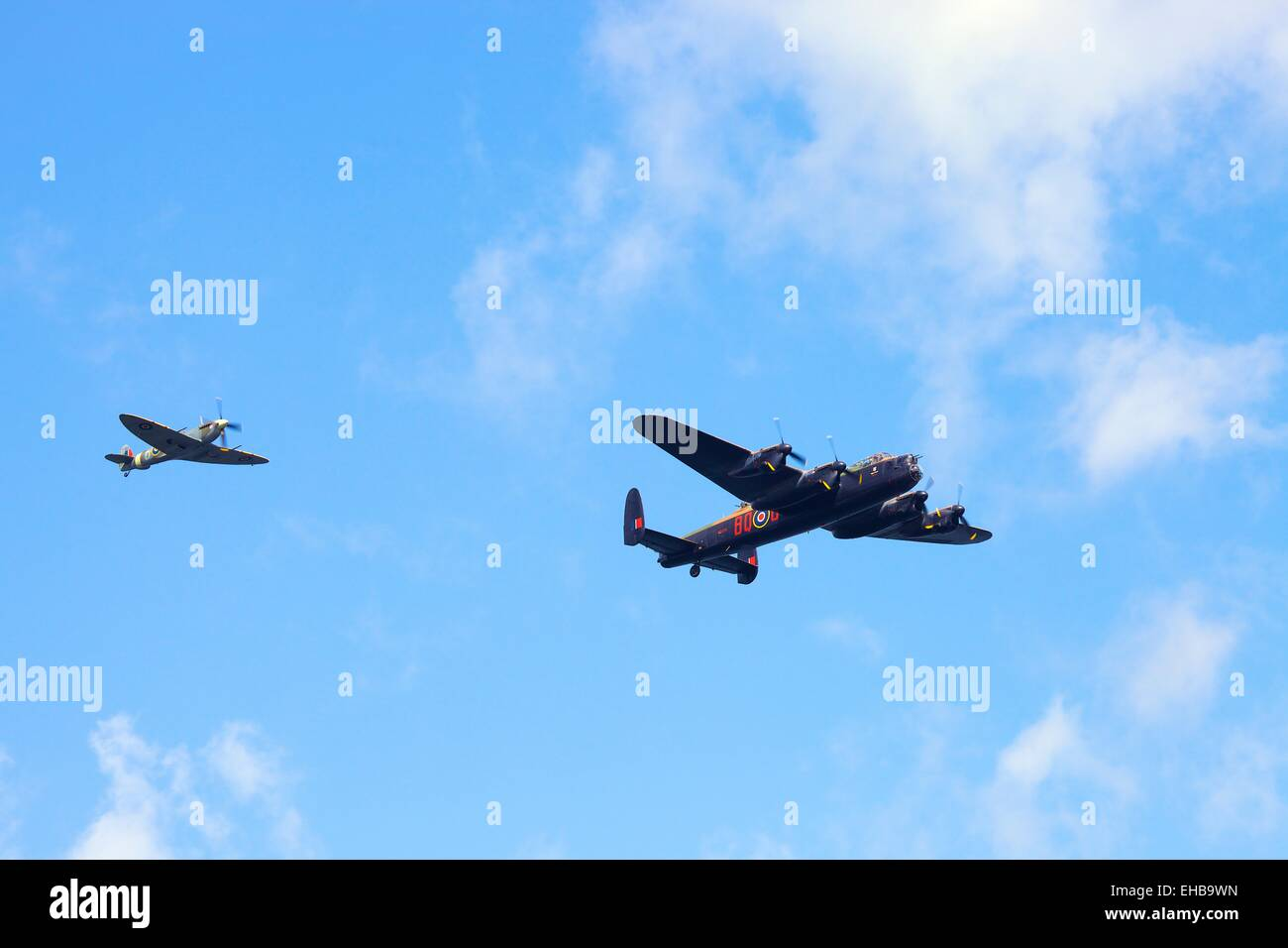 Battle of Britain Memorial Flight. Spitfire Mk Vb. Avro Lancaster B1 Bomber. Windermere Air Show 2011, Cumbria, - Stock Image