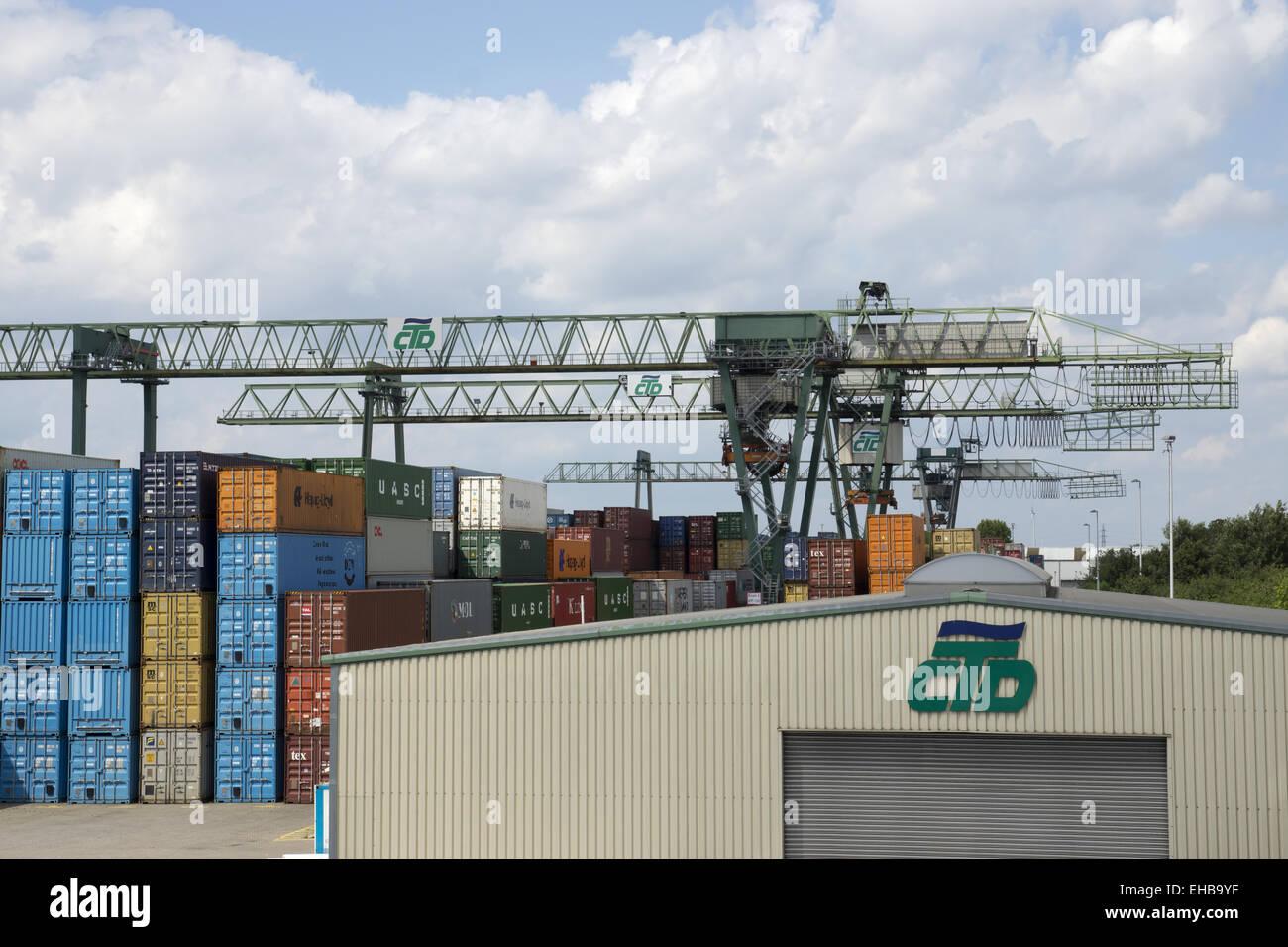 Container harbor Dortmund, Germany Stock Photo