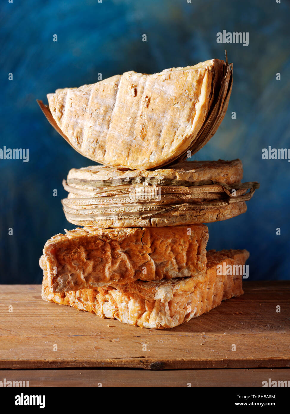 traditional rustic French cheeses - Stock Image