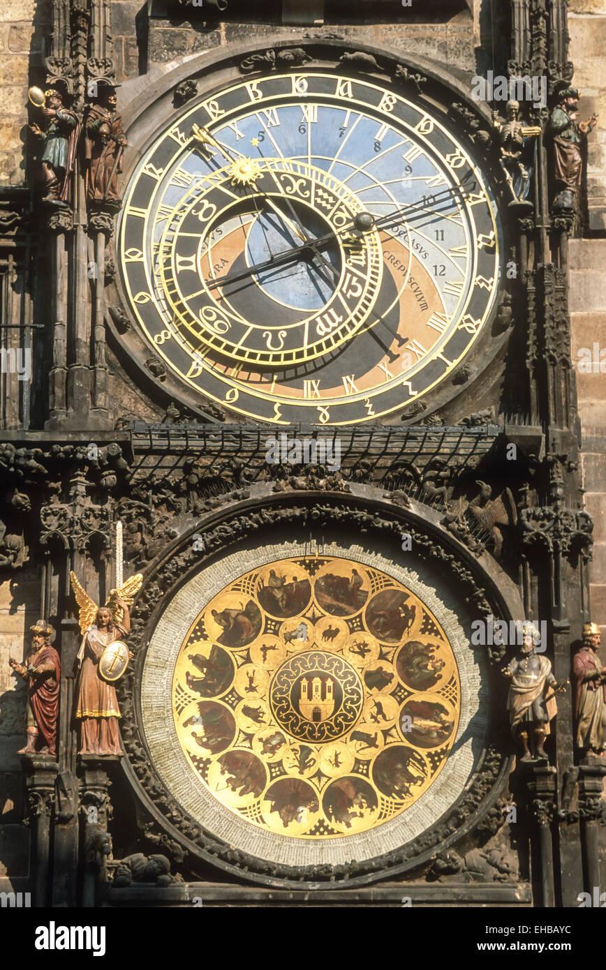 Astronomical clock at the old town hall Prague Czech Republic Europe EU - Stock Image
