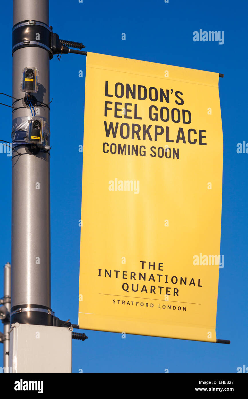 London's feel good workplace coming soon The International Quarter - sign and cameras at Stratford, London in - Stock Image